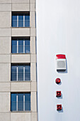 Alarm system on facade, media harbor, Dusseldorf, North Rhine-Westphalia, Germany