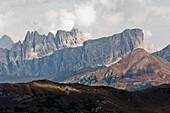 Mountain top, Cima Formin, Croda da Lago, Venetien, Dolomites, South Tyrol, Italia