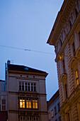 House Facade at dusk, Vienna, Austria