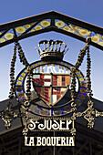 Barcelona, Ramblas,  Mercat de Sant Josep, La Boqueria market, Entrance sign