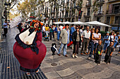 Spain,Barcelona,Las Ramblas,Boulevard,street artist,fat women joking