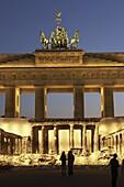Berlin,  brandeburg gate, poster reminding the end of wolrd war 2