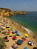 Portugal, Atlantik Kueste Felsen , Badestrand Praia Dona Ana