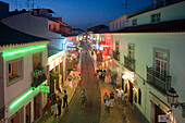 Portugal Algarve  Lagos main street. nightlife, restaurants, twilight