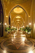 United Arab Emirates Dubai, One & Only Royal Mirage, Arabian court,  five star Hotel at Jumeirah ,luxery marble floor with mosaics, oriental style