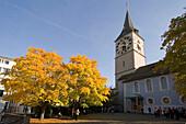 Switzerland, Zuerich, St. Peterhofstatt,  St. Peters church, autumn historic building, 13th century, largest clock face in europe