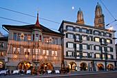 Switzerland, Zurich, Limmatquai tram Grossmunster christmas illumination