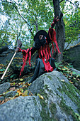 witch as guide, walking track, Bodetal, Harz Mountains, Saxony Anhalt, Germany