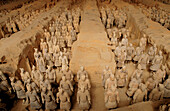 Terracotta warriors in the Mausoleum of Qin Shihuang, near Xian. Shaanxi province. China