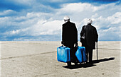 Adult, Adults, Aged, Back view, Beach, Beaches, Calm, Calmness, Cane, Canes, Caucasian, Caucasians, Color, Colour, Contemporary, Couple, Couples, Daytime, Elderly, Exterior, Female, Holiday, Holidays, Horizontal, Human, Leisure, Male, Man, Mature adult,