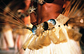 Close up of a female dancer waist during a tamure dance. Tahiti. French Polynesia