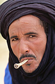 Tuareg man smoking. Timbuktu. Mali. West Africa