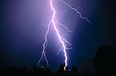 Anger, Blue, Blue sky, Bolt, Bolts, Cloud, Clouds, Color, Colour, Electric power, Electricity, Energy, Exterior, Horizontal, Light, Lightning, Meteorology, Natural phenomena, Natural phenomenon, Nature, Night, Nighttime, Outdoor, Outdoors, Outside, Power
