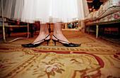Adult, Adults, Carpet, Carpets, Color, Colour, Concept, Concepts, Contemporary, Dress, Dressed up, Dresses, Elegance, Elegant, Feet, Female, Floor, Floors, Foot, Footgear, Footwear, Heels, Horizontal, Human, Indoor, Indoors, Interior, Old fashioned, Old-