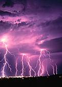 Anger, Bolt, Bolts, Cloud, Clouds, Color, Colour, Danger, Electric power, Electricity, Energy, Exterior, Hazard, Light, Lightning, Meteorology, Natural phenomena, Natural phenomenon, Nature, Night, Nighttime, Outdoor, Outdoors, Outside, Power, Rage, Scen