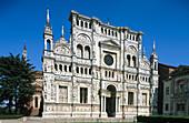 Façade of the church of La Certosa di Pavia (Carthusian monastery). Lombardy, Italy