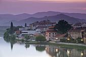 Drava River Waterfront & Judgement Tower. Dusk. Maribor. Stajerska. Slovenia. 2004.