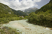 Turquoise Waters of the Soca River. Julian Alps. Soca. Primorska. Slovenia.