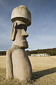 Easter Island Moai figure. Stonehenge 2 - Half scale replica. Hill Country-Hunt. Texas, USA.