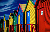 Multicolored beach houses at Saint James. Cape Peninsula. South Africa