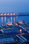 Morocco. Atlantic Coast. Agadir: Fishing Port from ancient Kasbah. Dawn