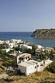 Resort town view with Agios Nikolaos Island. Mohlos. Lasithi Province. Crete. Greece.