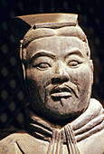 Terracotta warrior from excavations of Emperor Qin s buried army at Qinshihuang s museum. Xian, Shaanxi, China.