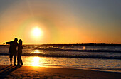 Couple in romantic sunset on the Mediterranean, Tel Aviv, Israel