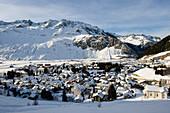 View over Andermatt in winter, Canton Uri, Switzerland