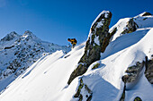 Skier freeriding, Gemsstock skiing region, Andermatt, Canton Uri, Switzerland
