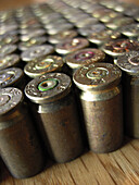 Ammo, Ammunition, Ammunitions, Bullet, Bullets, Close up, Close-up, Closeup, Color, Colour, Danger, Firearm, Firearms, Hazard, Indoor, Indoors, Interior, Many, Metal, Object, Objects, Thing, Things, Violence, Violent, Weapon, Weapons, C47-550764, agefoto