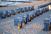 Baltic sea, Beach, Beach chair, Beach chairs, Calmness, Chair leasing, Chairs, Closed, Coastal Cities, Coastal City, Color, Colour, Deck chair, Deckchair, Empty, Evening, Germany, Holiday, Kühlungsborn, Lonely, Mecklenburg Vorpommern, Mecklenburg Western