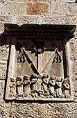 Bas-relief emblem of the All Saints brotherhood, town of Korkula. Korcula Island, Dalmatia. Croatia