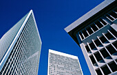 Office buildings of varying architectural design, against deep blue sky, Century City, Los Angeles