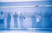 Airport secury area, Blue, Closed, Color, Colour, Concept, Concepts, Daytime, Door, Doors, Horizontal, Human, Indoor, Indoors, Inside, Interior, Line, Lines, Monochromatic, Monochrome, People, Person, Persons, Row, Rows, See-through, Silhouette, Silhouet