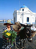 Greece, Cyclades, Mykonos, woman selling vegetables with her donkey