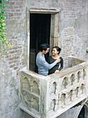 Romeo and Juliet pilgrims. Juliet s House Balcony. Verona. Veneto. Italy.