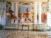 Villa Valmarana ai Nani. Fresco reprensenting The Sacrifice of Iphigeneia by painter Tiepolo. Vicenza. Veneto. Italy.