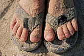 Child s sandy feet at beach