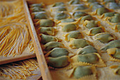 Aliment, Aliments, Color, Colour, Cuisine, Food, Gastronomy, Horizontal, Italian food, Nourishment, Pasta, Ravioli, Raviolis, Raw, Still life, E46-366056, agefotostock