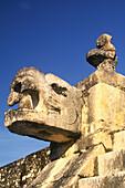 Jaguar head at Temple of the Warriors, Chichén Itzá. Mexico