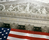 Wall Street Stock Exchange in financial district, Manhattan, NYC. USA