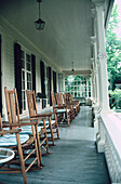 Porch with chairs. Vermont. USA