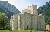 Romanesque abbey of San Vittore, Monti Sibillini National Park. Marche, Italy
