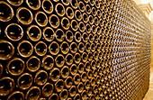 Bottles in Villa Russiz wine cellars. Capriva del Friuli, Collio region. Friuli-Venezia Giulia, Italy