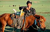Man and horse. Arkhangai. Mongolia