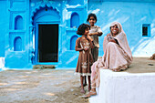 Newly painted houses for the Holi Festival in a village near Chittorgarh. Rajasthan. India