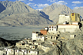 Architecture, Asia, Buddhism, Building, Buildings, Color, Colour, Daytime, Diskit Gompa, Exterior, Horizontal, India, Jammu and Kashmir, Ladakh, Monasteries, Monastery, Mountain, Mountain range, Mountains, Nubra, Outdoor, Outdoors, Outside, Religion, Tra