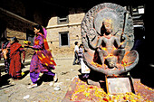 Statue of Vishnu at temple of Changu Narayan. Kathmandu Valley, Nepal