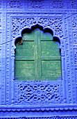 Window at the blue village, Jodhpur. Rajasthan, India